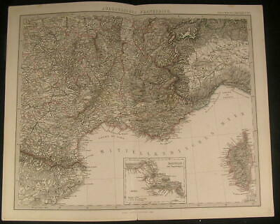 Southern France Monaco Gulf of Genoa Rhone River 1869 antique engraved color map
