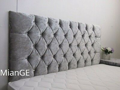 Stylish New Crushed Velvet Chesterfield Diamante & Fabric Buttons Headboard!!!!!
