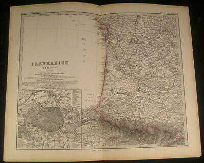West France Paris Pyrenees Mountains Bordeaux 1883 antique engraved color map