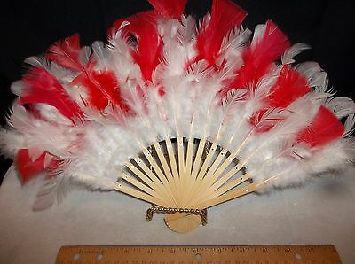 Hand Fans w White Feathers On Bamboo or Add Colors 14 in Wide w Color or White