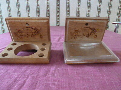 "2 Wooden Wall Hung Bathroom Accessories for Soap, Glass, 6 Toothbrushes, 5""x4"""