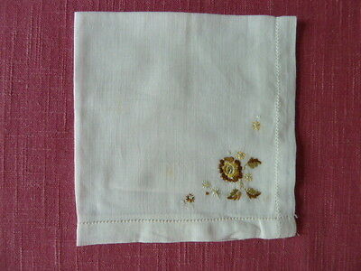Vintage Ladies Embroidered White Cotton Hanky with Yellow & Brown Corner Flower