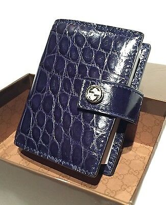 NEW Authentic GUCCI GG Croc Leather Notebook Cover Paper Pad Agenda Journal +Box