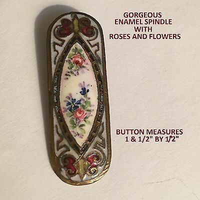 "Gorgeous Antique Enamel Spindle Button ""roses, Violets & Butterflies"" On Brass"