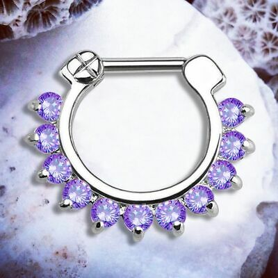 Aphrodite Purple Septum Ring Silver Helix Hoop Cartilage Earring Daith Clicker