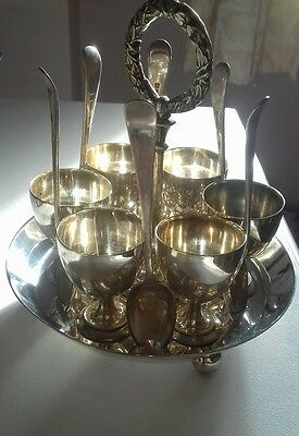 mappin and webb egg cup set. princes plate. silver plate