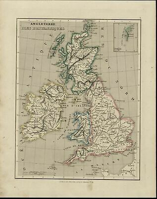 Britain England Wales Scotland Ireland London Shetland Isles 1838 scarce old map
