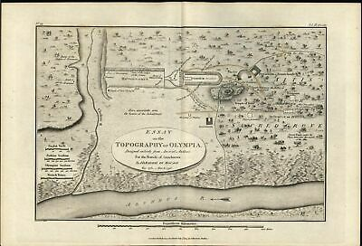 Topography Olympia Sacred Grove 1805 antique engraved outline hand color map