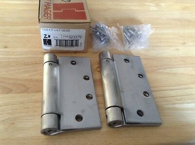 """HAGER 1150 4.5"""" X 4.5"""" SPRING HINGE  US32D STAINLESS STEEL (Lot of 2)"""