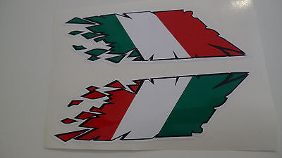 "Italian flag stickers 2X ""rip"" style laminated motorcycle scooter Vespa decals"