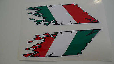 Motorcycle Scooter Italian flag stickers 2 pcs rip style decals 150 X 45 mm