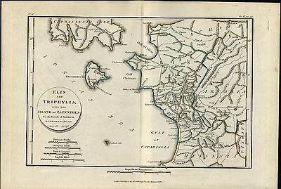 Greek Islands Zakynthos Olympia 1805 antique engraved outline hand color map