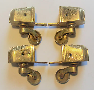 Set 4 Antique/Vintage Brass Castors with Claw Feet