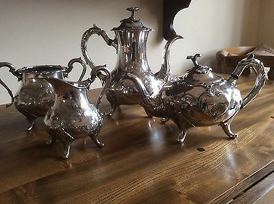 Antique Victorian Ornate Silver Plated Teapot / Coffee Pot Milk / Sugar