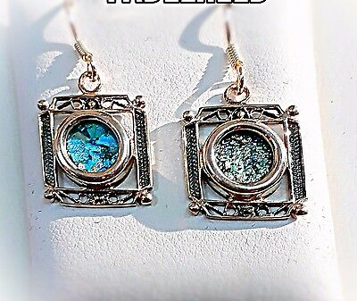 VINTAGE ANTIQUE ROMAN GLASS SILVER STERLING ancient  EARRING ISRAEL See original