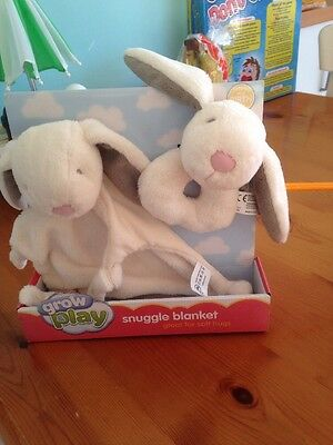 Sainsburys Play and Grow Baby Bunny Blankie and Grabber Set Comforter Soft Toy