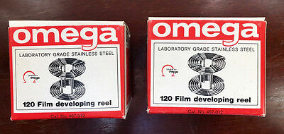 2 Omega Stainless Steel 120 Film Reels for Darkroom Film Developing new in boxes