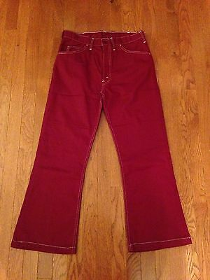 EUC Womens Vintage 60's 70's Red Flare Bell Bottoms White Tab Levis Big E  Pants