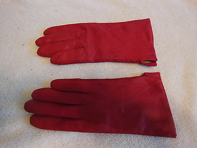 Women's Driving Gloves-Fownes-Size 7.5-Red-Leather-Wrist-PreOwned-Excellent