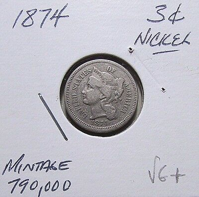 Scarce...1874, 3 Cent Nickel***Nice VG+/F Or Better Details***