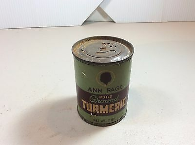 Ann Page Rajah Ground Turmeric Round Spice Tin Green Label