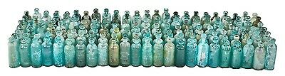 Large Lot Of Original 19Th Cent Aqua/blue/green Hutchinson Style Bloptop Bottles