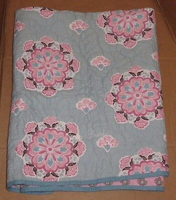 "Pottery Barn Kids Brooklyn Toddler Crib Quilt Blue/Pink ""Emma Brooke"" Monogram"