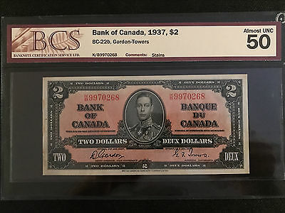 1937 Bank of Canada $2 Gordon-Towers BCS Almost UNC 50 BC-22b