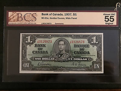 1937 Bank of Canada $1 Wide Panel Gordon-Towers BCS Almost UNC 55 Original