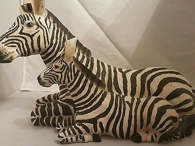 Zebra statue figurine mom and baby residents 17 wide 12 inches tall