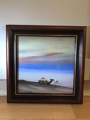 Vintage 1920's Watercolour Painting Of Middle Eastern Scene In Wood Frame