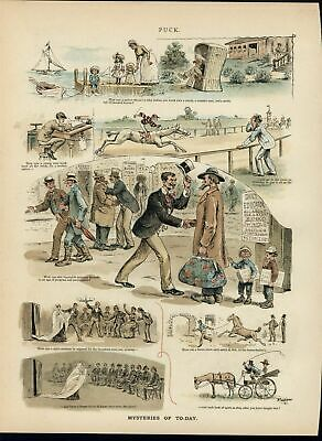 Mysteries of Today Spirit Mediums Horse Race 1889 antique color lithograph print