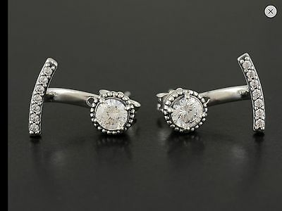 Authentic Genuine Pandora Sterling Silver Abstract Elegance Earrings - 290743CZ