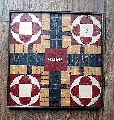 Primitive Hand Painted Wooden Parcheesi Large Game board