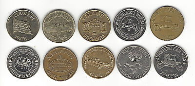 "5. A Lot Of 10 Mixed Car Wash Tokens Starts With ""a"" American Alamo Amoco"