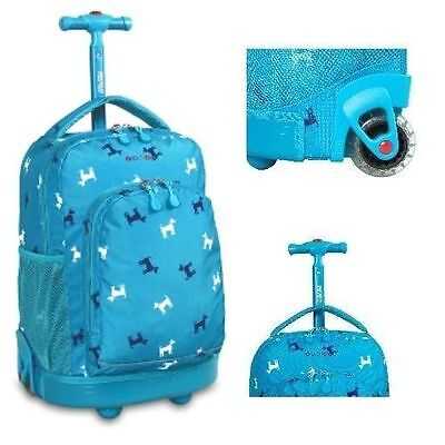 Rolling School Backpack Kids Boys Book-Bag Wheeled Roller Carry-on Trolley New