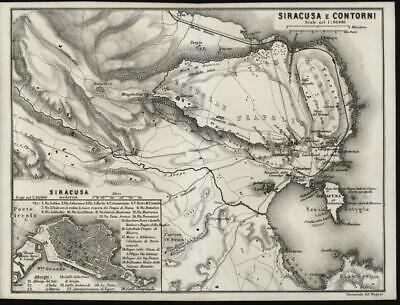 Syracuse & Environs Sicily Italy 1872 antique lithograph map