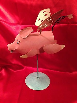 Flying Pig Original Hand Crafted Metal Sculpture Fantasy Mythical Animal Wings