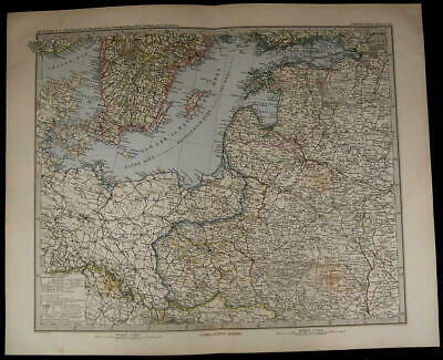 Sweden East Sea Poland Prussia Russian Provinces nice 1885 fine old detailed map