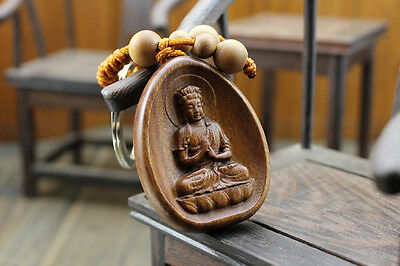 Wood Carved Chinese Dari Kwan Yin Buddha Statue Pendant Key Chain