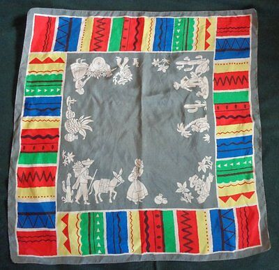 Vintage Mexican Motif Silk Scarf, 32 x 33 inches; Lovely