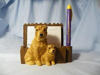 Shar Pei Dog With Puppy Note Pad And Pen Holder Magnet
