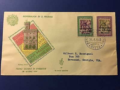 San Marino Cover to USA 1949 Catchet Stamps