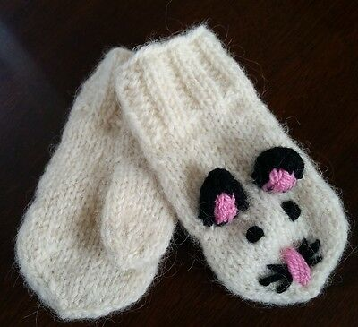 Wool Winter MITTENS Gloves Hand knitted newborn baby Girl 0 - 1