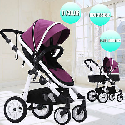 Reverse Foldable Baby Stroller &Bassinet Kids Travel Pushchair Pram Jogger