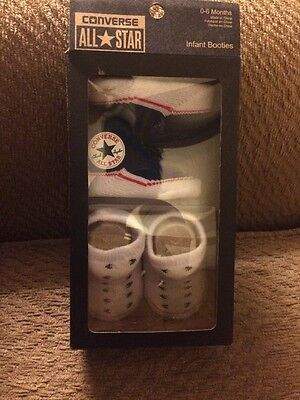 Converse All Star Infant Baby Booties Socks Size 0-6 Months Two Pair
