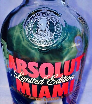 ABSOLUT MIAMI VODKA - LIMITED EDITION 1liter (Empty) BOTTLE