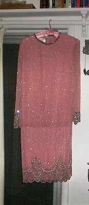 Vintage Sequin Beaded Silk Dress Brilliante by JA size s/m
