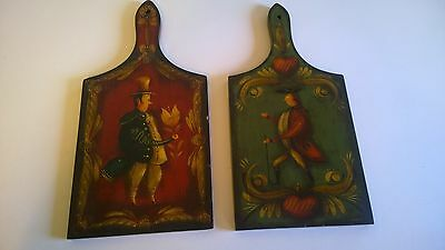 Warner C. Wrede  Antique Hand Painted Wood Cutting Boards Americana Folk Art
