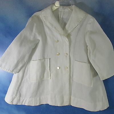 DO-Vintage 40s 50s white pique coat doll baby dress sz 2-3
